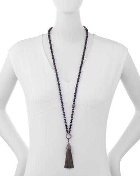 Beaded Iolite & Diamond Tassel Pendant Necklace