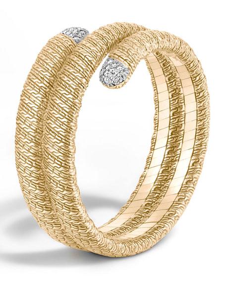 Classic Chain 18k Double Coil Diamond Bracelet