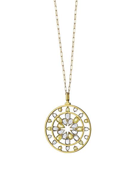 18K Gold Yellow Sapphire & Rock Crystal Kaleidoscope Pendant Necklace