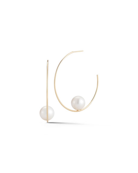 Mizuki Floating Pearl Hoop Earrings