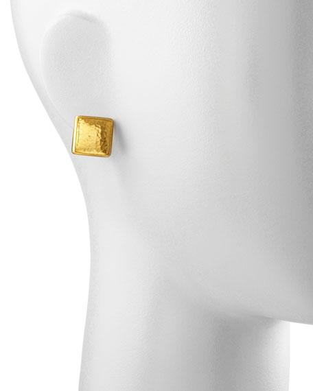 Amulet 24k Gold Square Stud Earrings