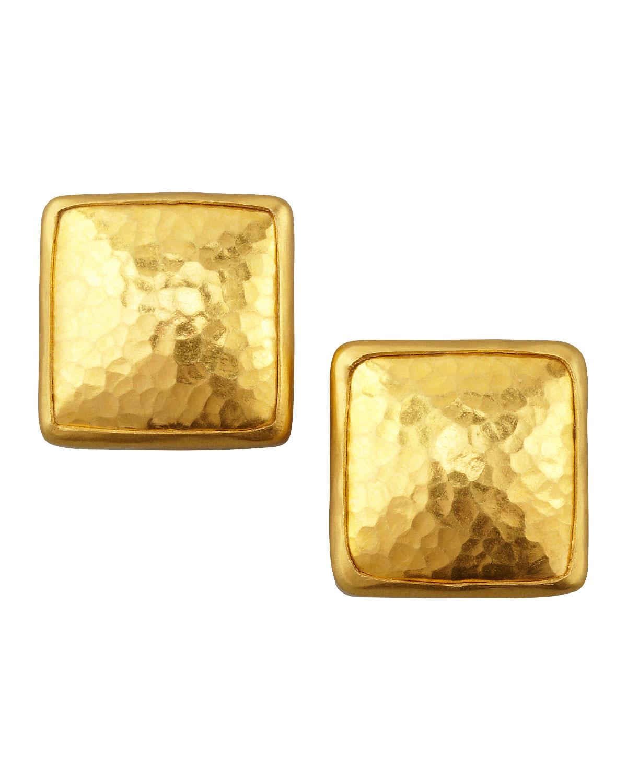 Gurhan Amulet 24k Gold Square Stud Earrings