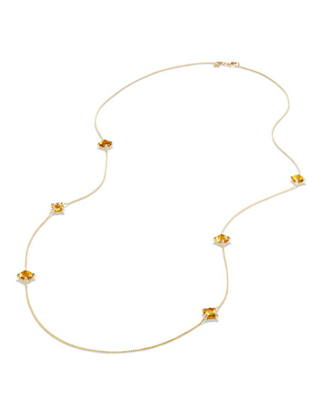 18k Châtelaine Long Citrine Station Necklace, 32""