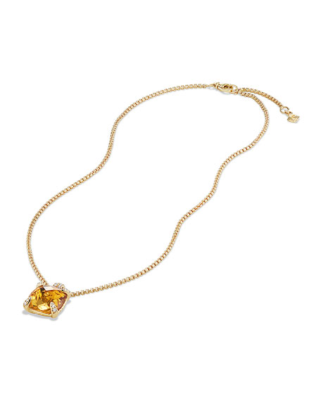 14mm Châtelaine Pendant Necklace in 18K Gold with Citrine & Diamonds
