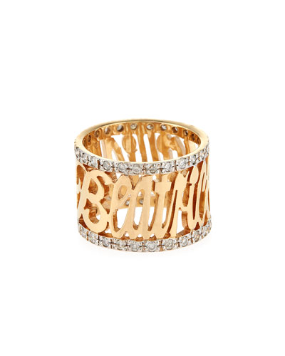 Personalized 14K Yellow Gold Note Ring with Diamonds