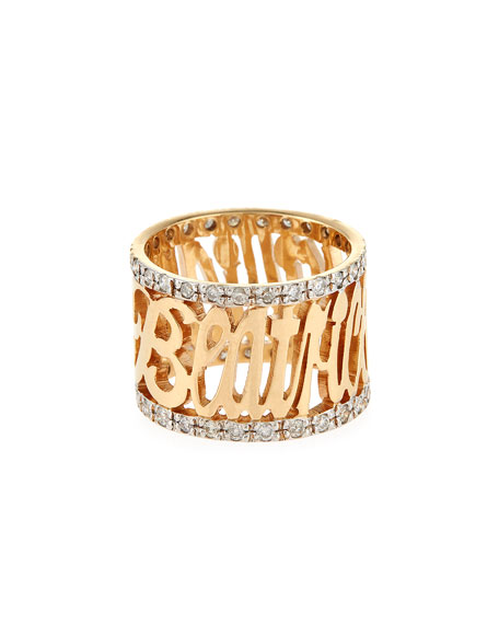 Jennifer Creel Personalized 14K Yellow Gold Note Ring with Diamonds vpepwIYW