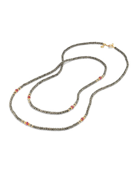 Osetra Tweejoux Pyrite & Garnet Necklace, 32""