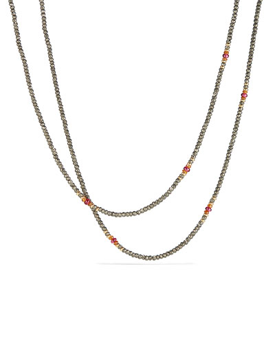 Osetra Tweejoux Pyrite & Garnet Necklace, 32