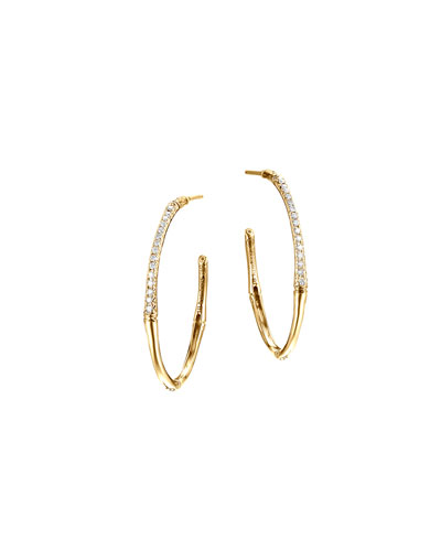 Bamboo 18k Gold Small Diamond Hoop Earrings