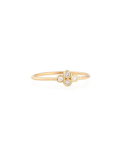 14K Gold Diamond Quad Ring