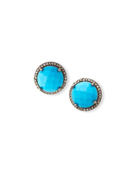 Faceted Turquoise & Diamond Earrings