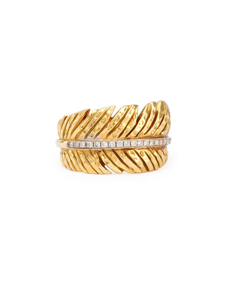 18k Feather Ring with Diamonds