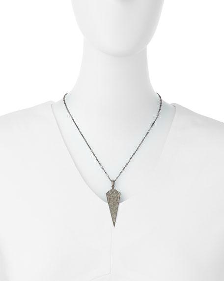 """Silver Wide Diamond Dagger Pendant Necklace, 18""""L"""