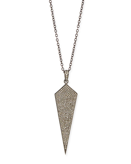 "Silver Wide Diamond Dagger Pendant Necklace, 18""L"