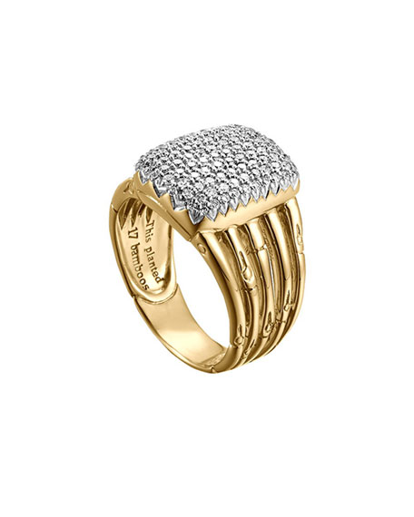 Bamboo 18k Diamond Five-Row Ring, Size 6