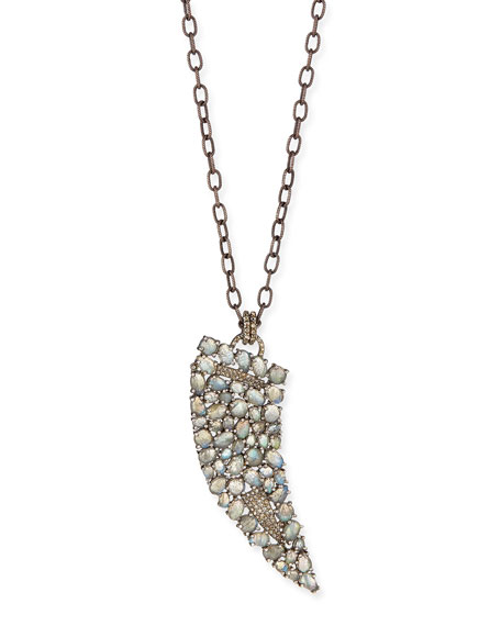"Labradorite Diamond Horn Necklace, 35""L"