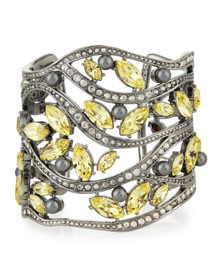Pearly and Multi Tonal Crystal Cuff Bracelet