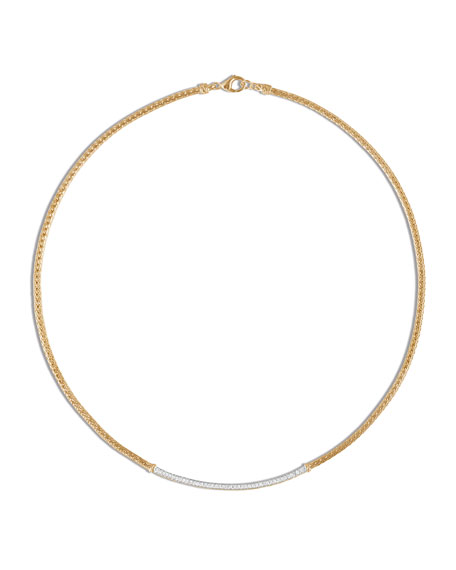John Hardy 18k Gold Classic Chain Station Necklace w/ Diamonds, 16