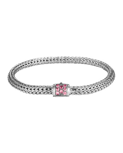 Batu Classic Chain Silver Bracelet with Pink Spinel  Size M