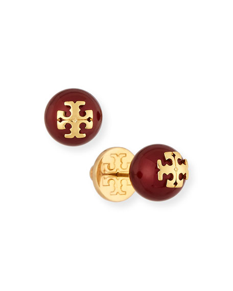 Tory Burch Logo Bead Stud Earrings