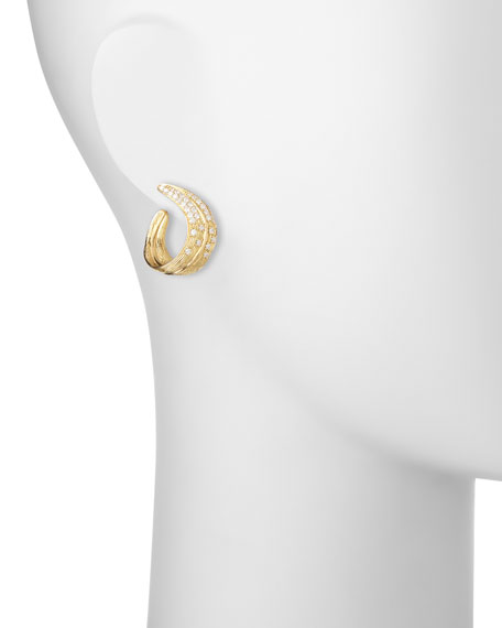 18K Yellow Gold & Pavé Diamond Crescent Palm Earrings