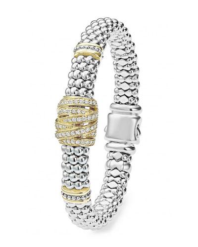 Embrace Caviar™ Silver Beaded Bracelet w/ Diamonds