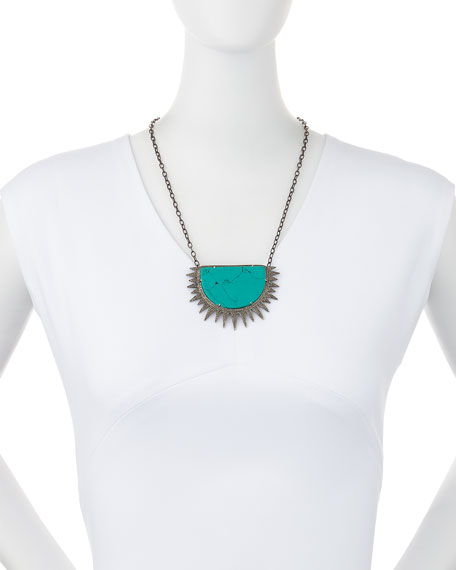 Turquoise Diamond Half Sun Pendant Necklace