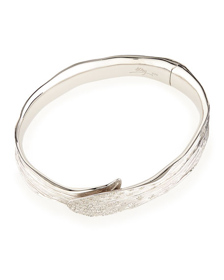 Palm Pavé Diamond Hinged Bangle