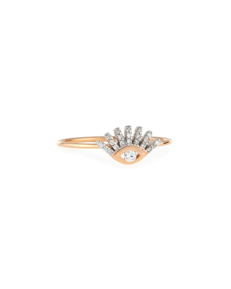 Protect Me 14K Rose Gold & Diamond Evil Eye Ring, Size 7