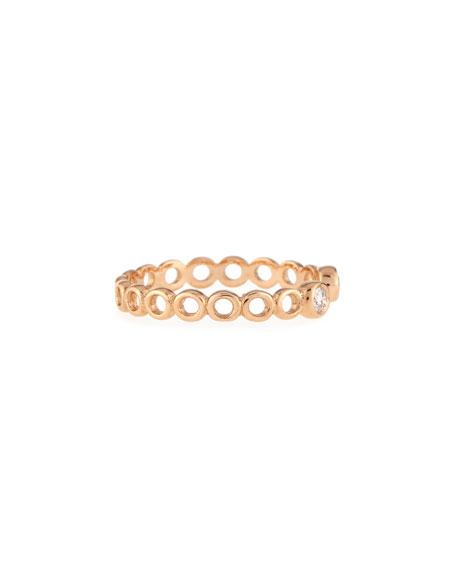 Beads 14K Rose Gold & Diamond Hollow Pinky Ring, Size 3.75