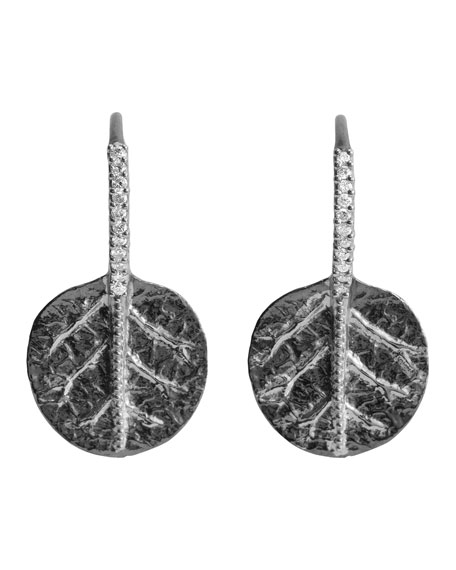 Botanical Leaf Earrings in Silver with Diamonds