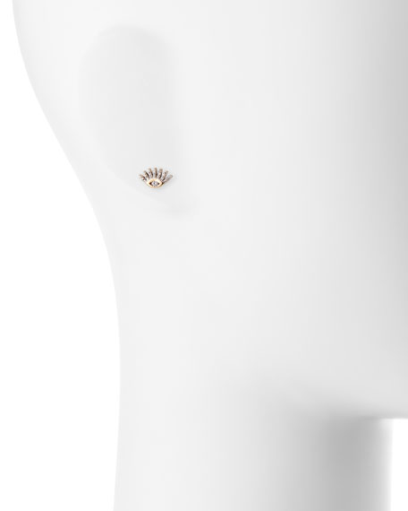 Protect Me 14K Rose Gold & Diamond Evil Eye Stud Earring