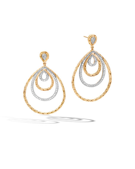 Classic Chain 18K Gold & Diamond Concentric Drop Earrings