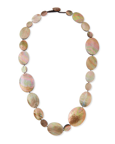 Long Shell Disc Necklace, 44