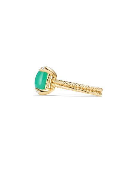 Châtelaine 18k Gold 11mm Chrysoprase Ring w/ Diamonds, Size 7