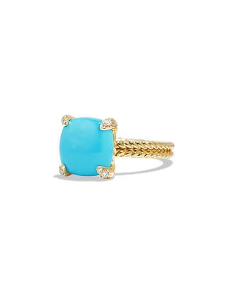 Châtelaine 18k Gold 11mm Turquoise Ring w/ Diamonds, Size 5