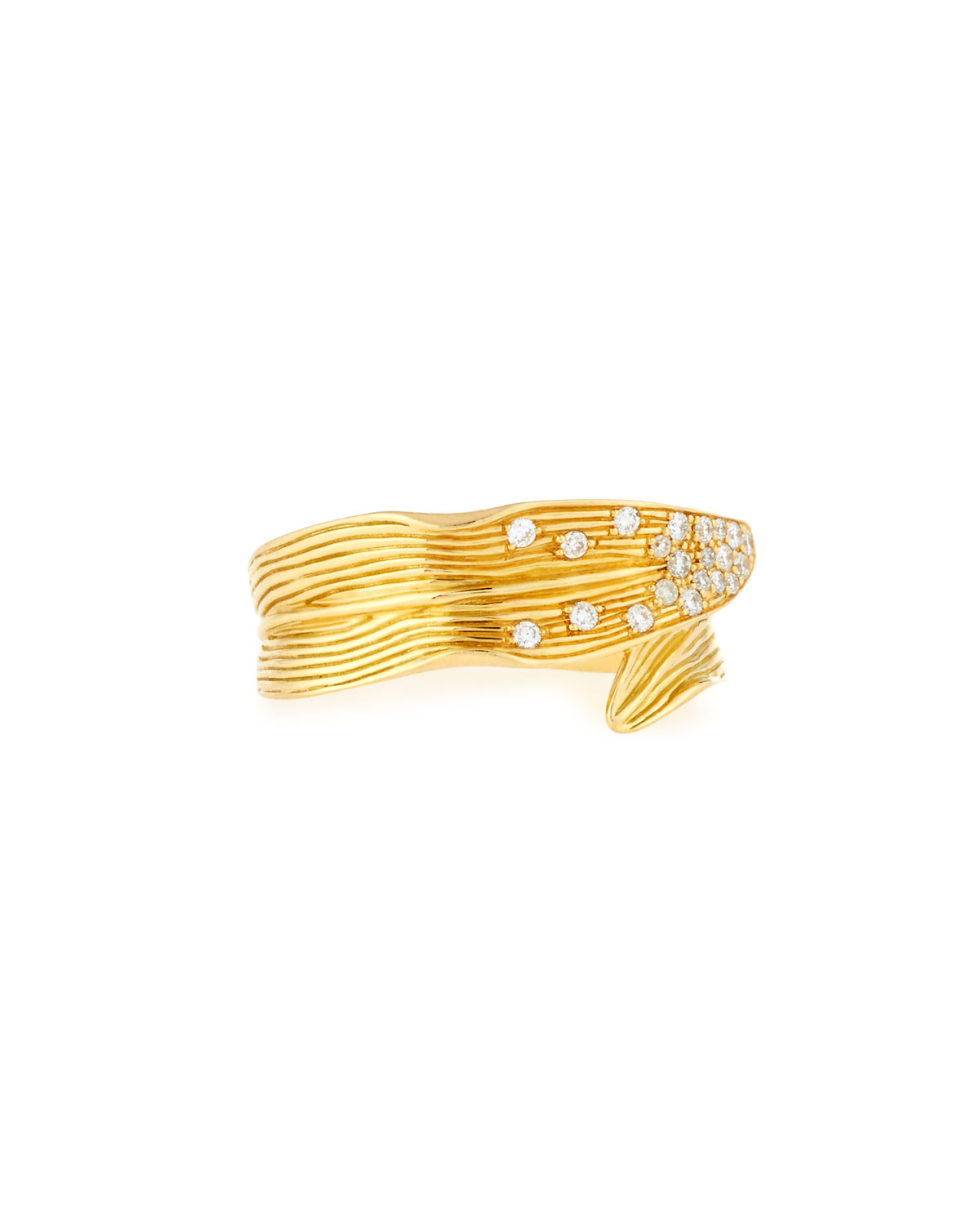 Michael Aram Palm Carved 18K Gold Ring with Diamonds, Size 7, 0.14 tdcw