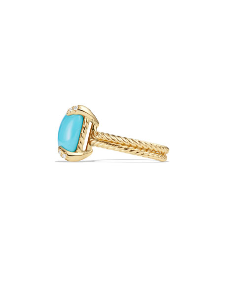 Châtelaine 18k Gold 14mm Turquoise Ring w/ Diamonds, Size 6