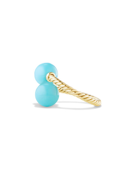 Solari 18K Gold & Turquoise Bypass Ring, Size 7