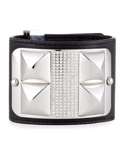 Studded & Pave Leather Cuff, Black/Silvertone
