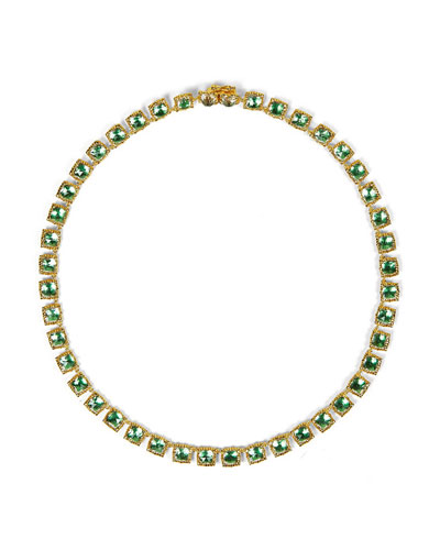 Bella Mini 18K Yellow Gold-Washed Button Rivière Necklace, Grass Green