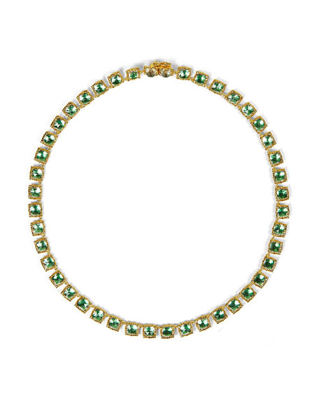 Bella Mini 18K Yellow Gold-Washed Button Riviere Necklace, Grass Green