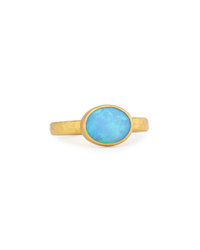 24K Opal Cabochon Amulet Ring, Size 6.5