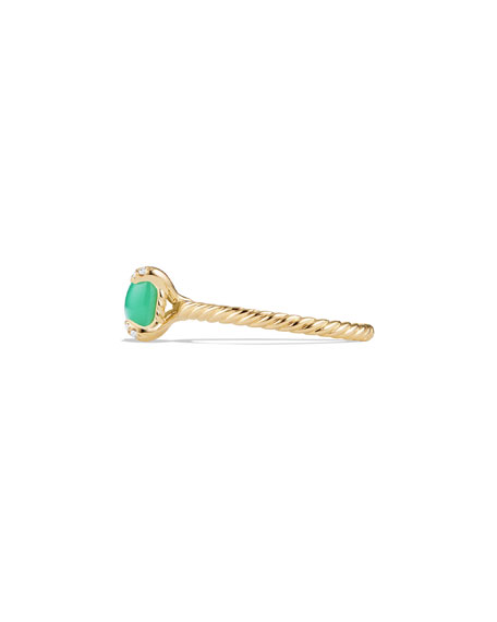 Châtelaine 18k Gold 7mm Chrysoprase Ring w/ Diamonds, Size 7