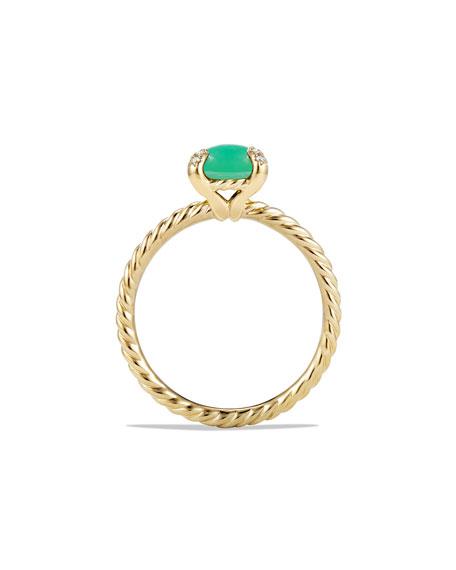 Châtelaine 18k Gold 7mm Chrysoprase Ring w/ Diamonds, Size 7