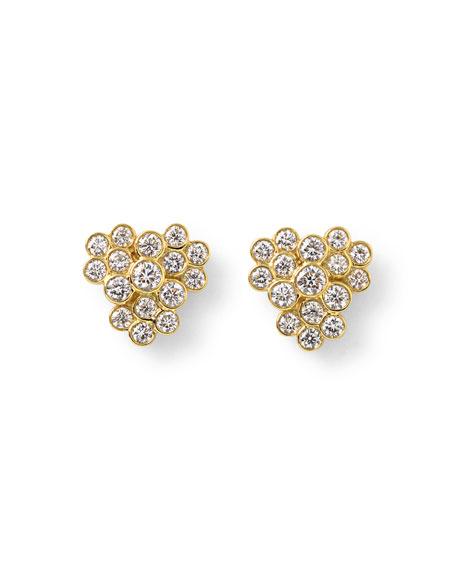 Glamazon Stardust 18K Diamond Bezel Cluster Earrings