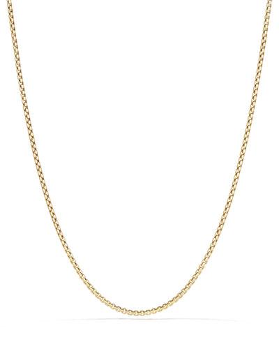 18k 2.7mm Small Box Chain Necklace, 36