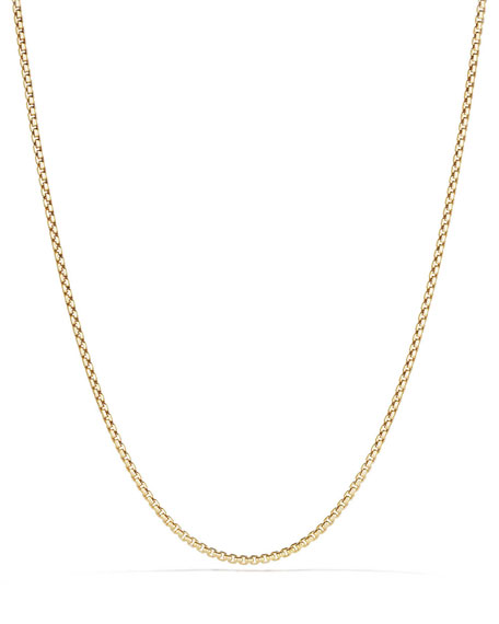 18k 2.7mm Small Box Chain Necklace, 36""