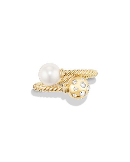 Solari 18K Bypass Ring with Pearl & Diamonds, Size 7