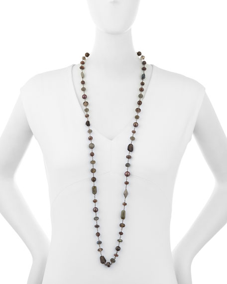 Hand-Wrapped Wire Necklace with Opal, Quartz & Diamonds